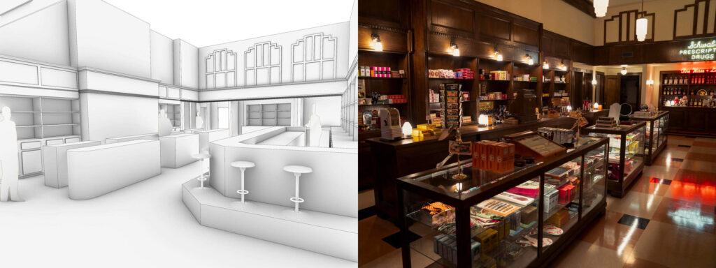 Initial drawings and the final film set for Schwab's Pharmacy in Hollywood
