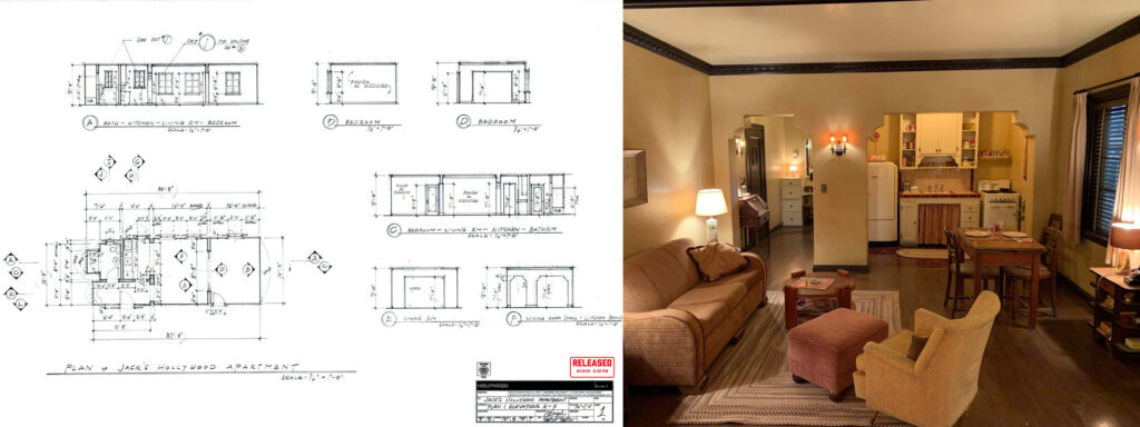 Initial drawings by production designer Matthew Ferguson and photos of the final film set for Jack's apartment in Hollywood