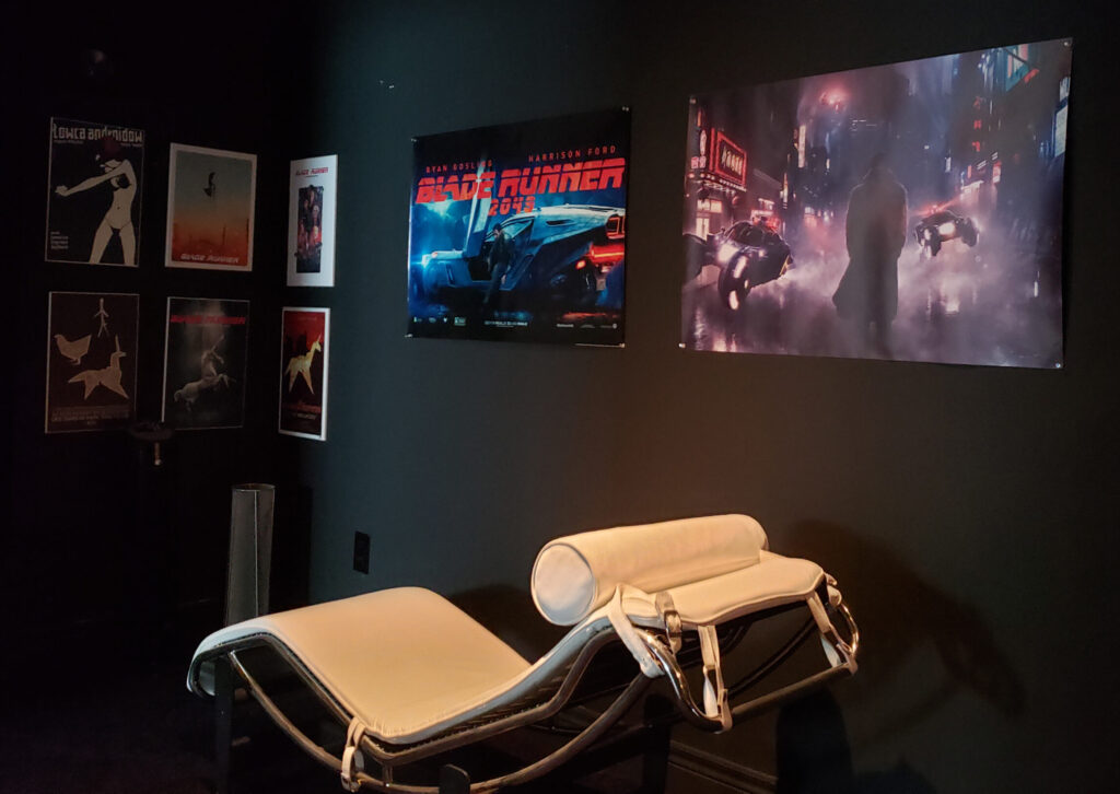 More Blade Runner posters and the recliner in Crosbie's home cinema