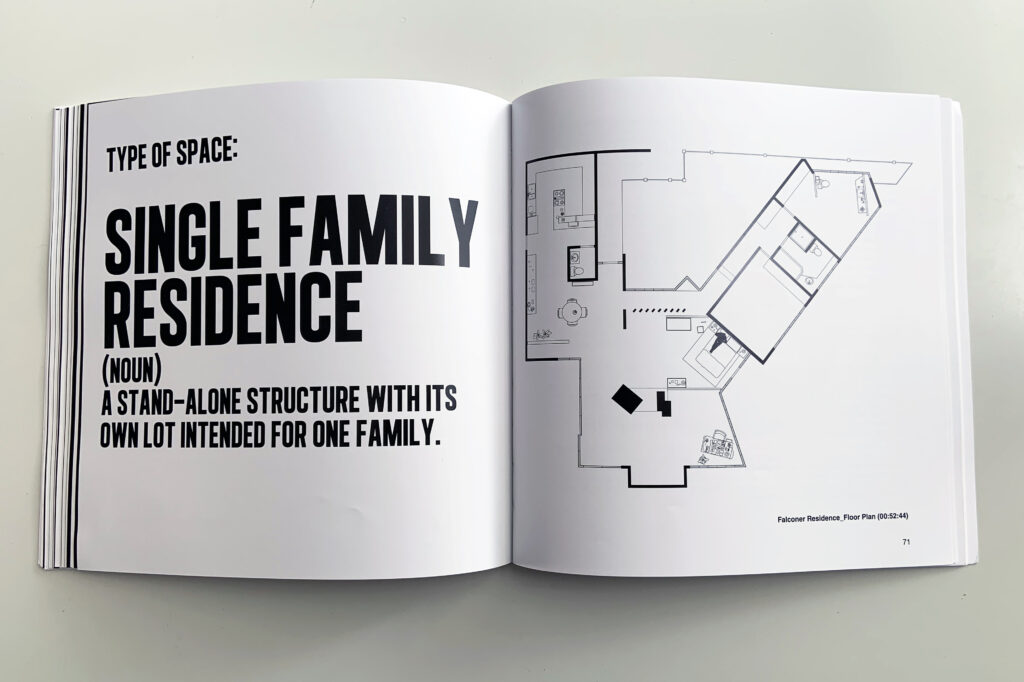 A spread from the book The Architecture of Cinematic Spaces showing a floorplan of George Falconer's house in A Single Man