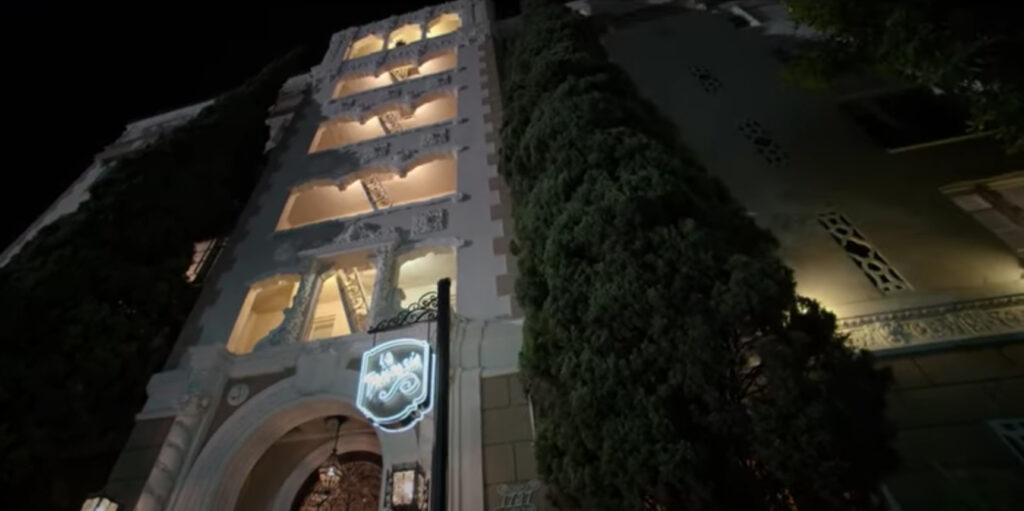 The exterior of Jack's apartment building was filmed at Whitley Heights