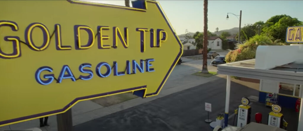 The Golden Tip Gas Station neon sign in Hollywood