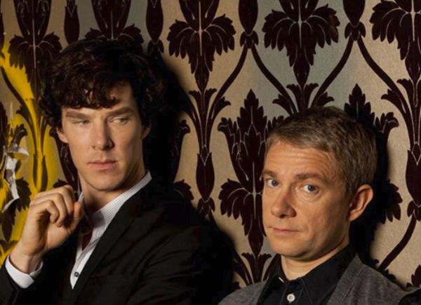 Zoffany Naverre fleur-de-lys wallpaper in Sherlock