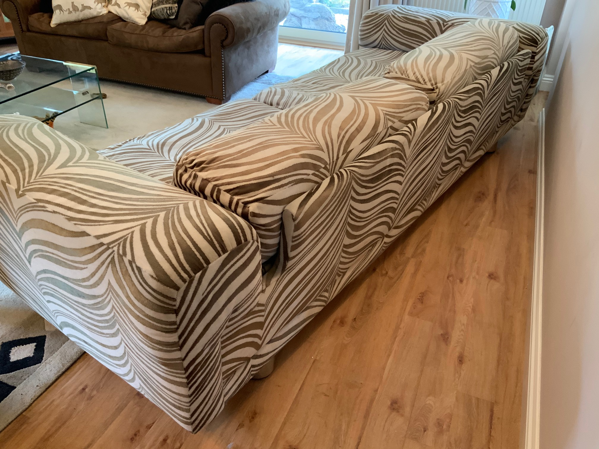 Howard Keith Diplomat sofa, zebra velour fabric, vintage