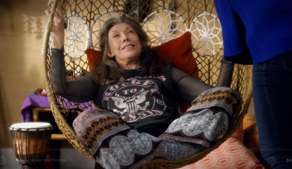 Netfllix Grace and Frankie: Frankie's meditation corner