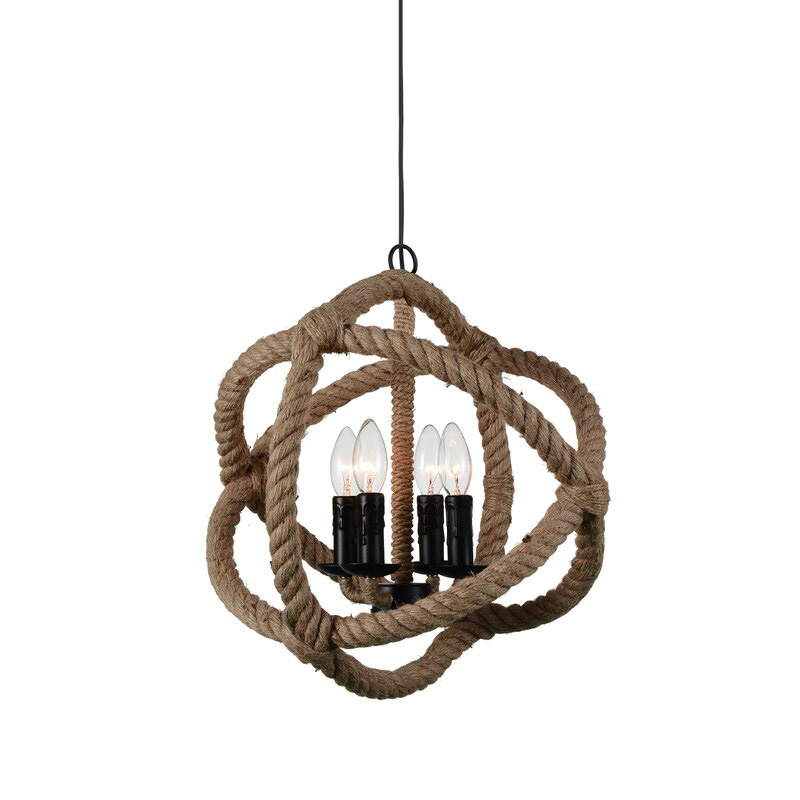 Catharine 4-Light Candle Style Globe Chandelier.