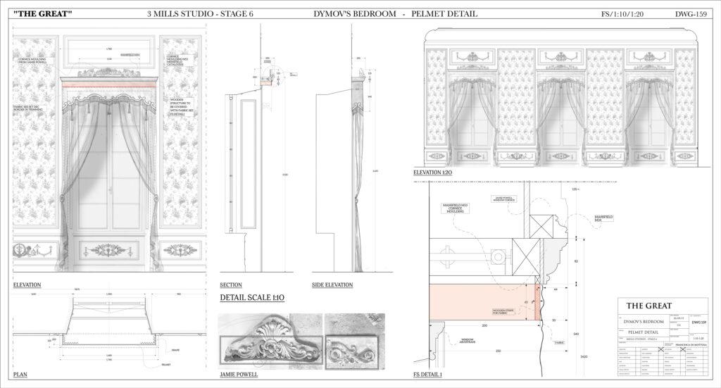 Drawings for Dymov's bedroom pelmet c/o Tanya Bowd