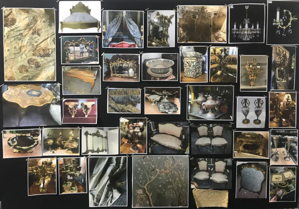One of Tanya Bowd's moodboards for furniture, fabric and interior details for The Great