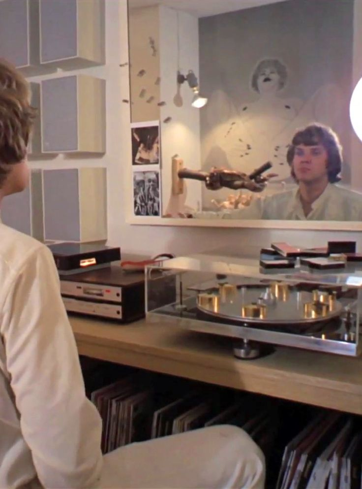 Alex in his bedroom in A Clockwork Orange