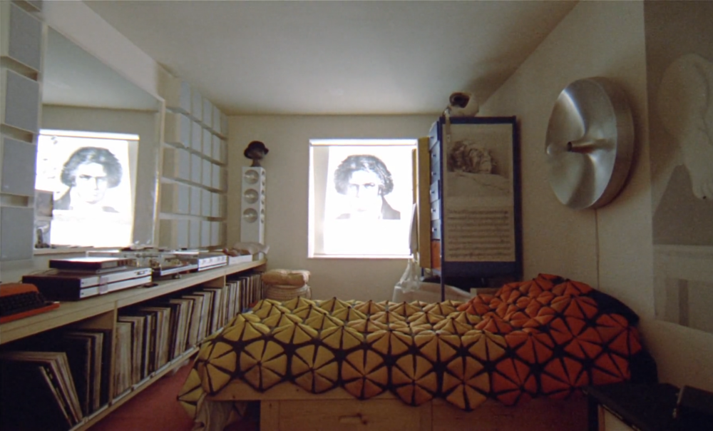 Alex's bedroom in A Clockwork Orange featuring the Transcriptors Hydraulic Reference Turntable on his sideboard to the left
