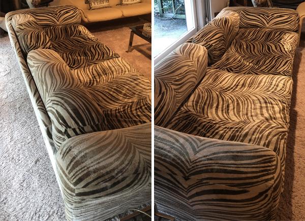 Howard Keith Diplomat sofa, zebra print, 1970s, vintage