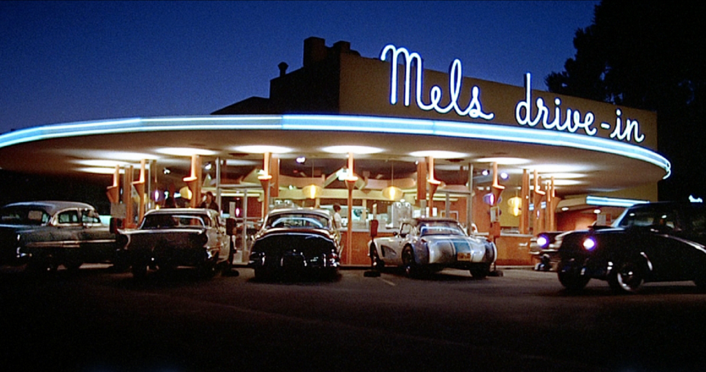 mels drive in neon american graffiti Neon lighting in film