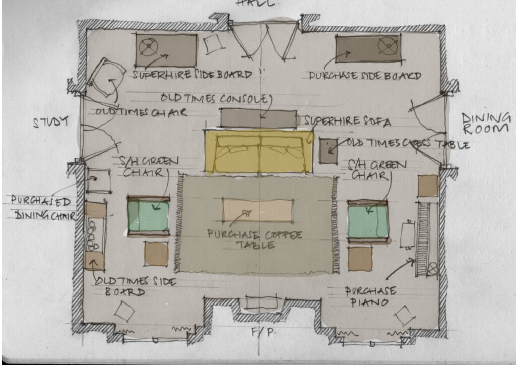 The floorplan and set decoration details of Anthony's living room decor of The Father
