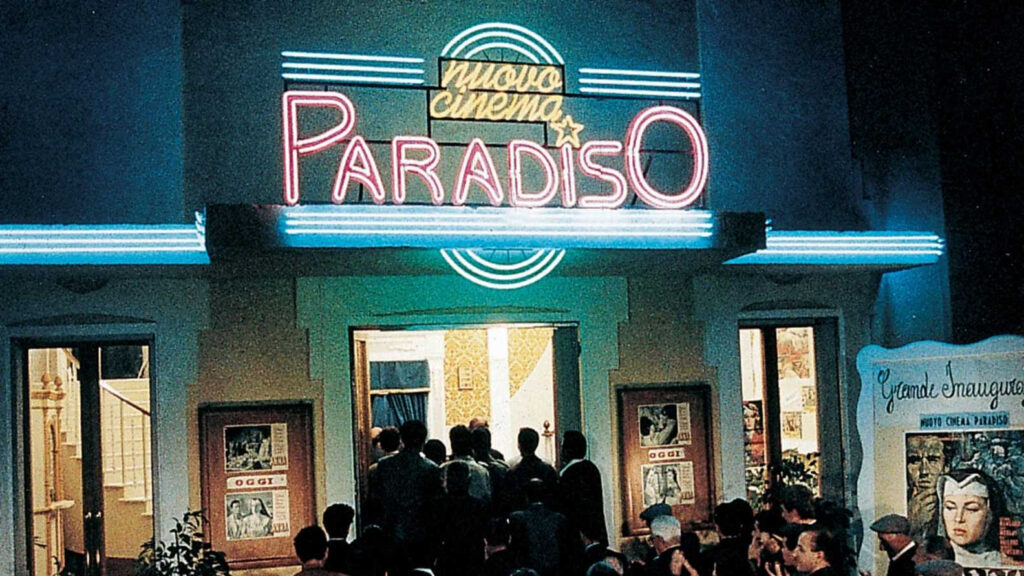The neon signage of Cinema Paradiso
