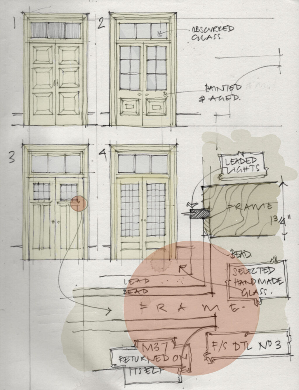 Peter Francis' working sketch for the doors in the apartment of The Father