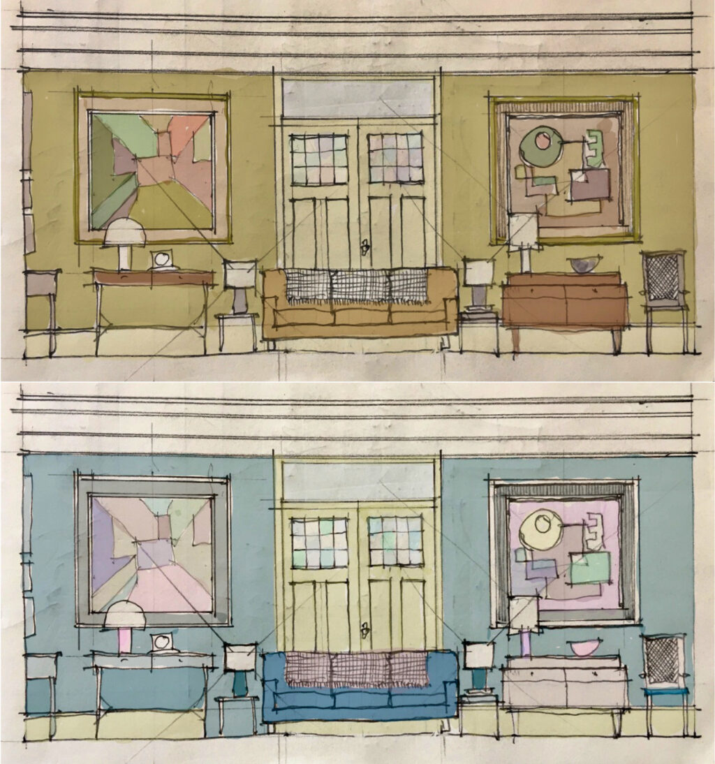 Production Designer Peter Francis used colour as a key signifier for the changing apartment decor of The Father from Anthony's to Annes in The Father