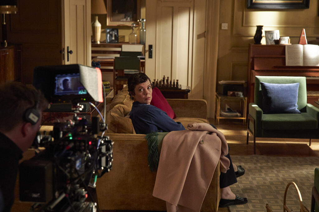 Olivia Colman on the filmset of decor of The Father