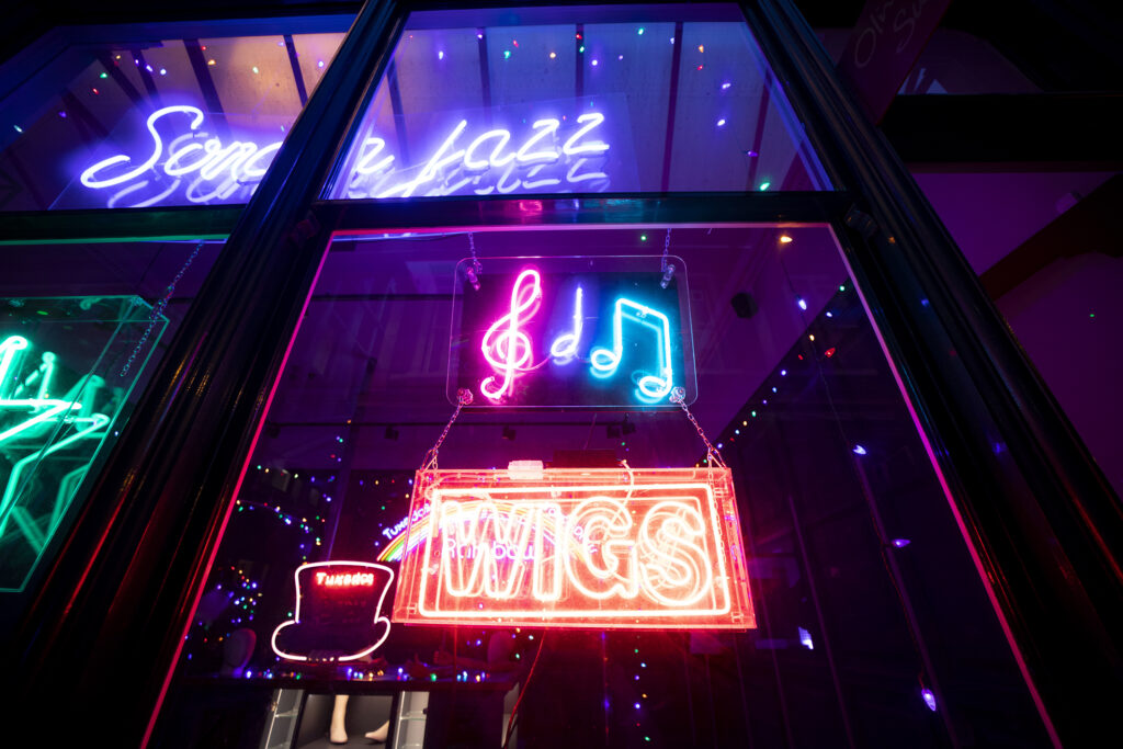 Neon display from Eyes Wide Shut at Electric City, Leadenhall Market