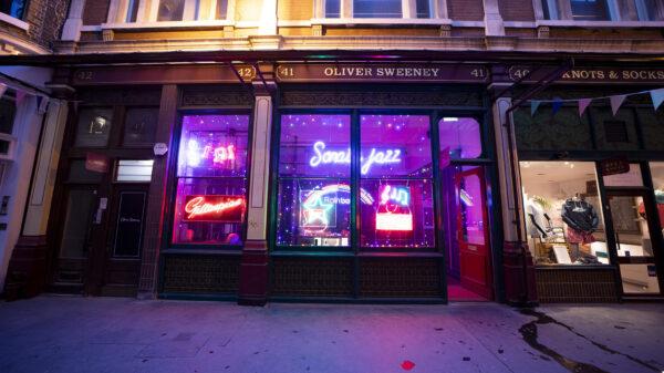 'Electric City' neon display lights up Leadenhall Market