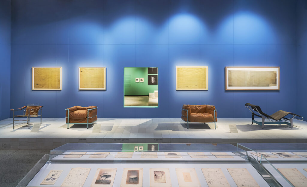 Charlotte Perriand exhibition - Series of tubular steel furniture with manufacturing plans designed by Le Corbusier, Pierre Jeanneret and Charlotte Perriand on display at the Design Museum