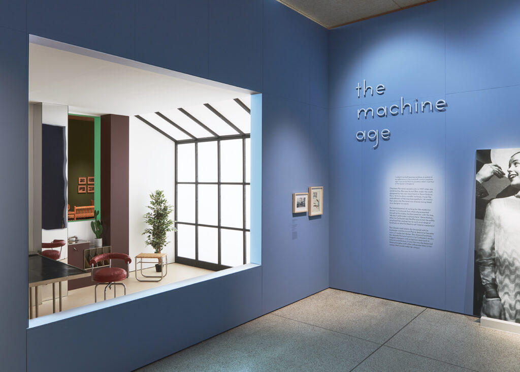 Charlotte Perriand exhibition View of the Place Saint-Sulpice apartment-studio room recreation  at the Design Museum