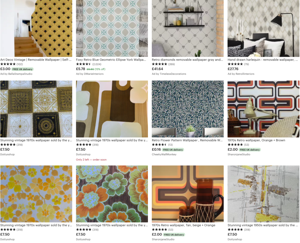 a selection of retro wallpaper currently available on Etsy